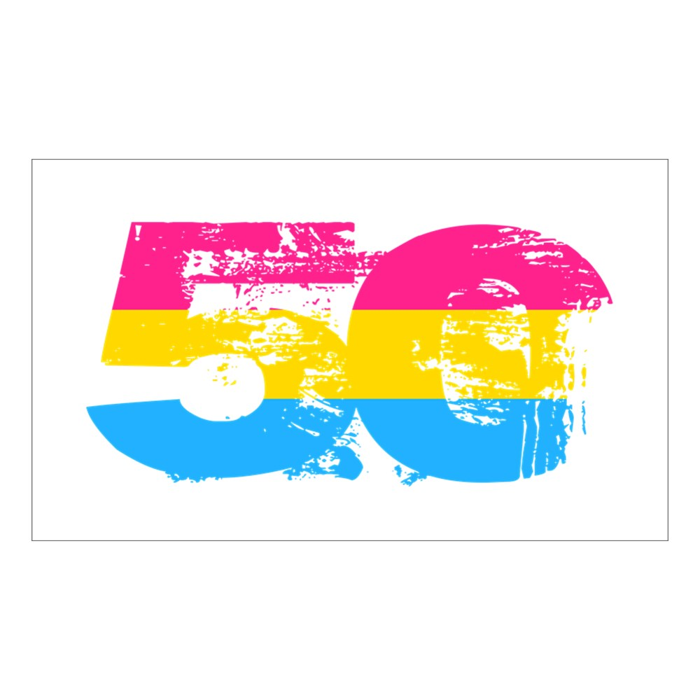 Pansexual Grunge 50 Pride Flag Rectangle Sticker