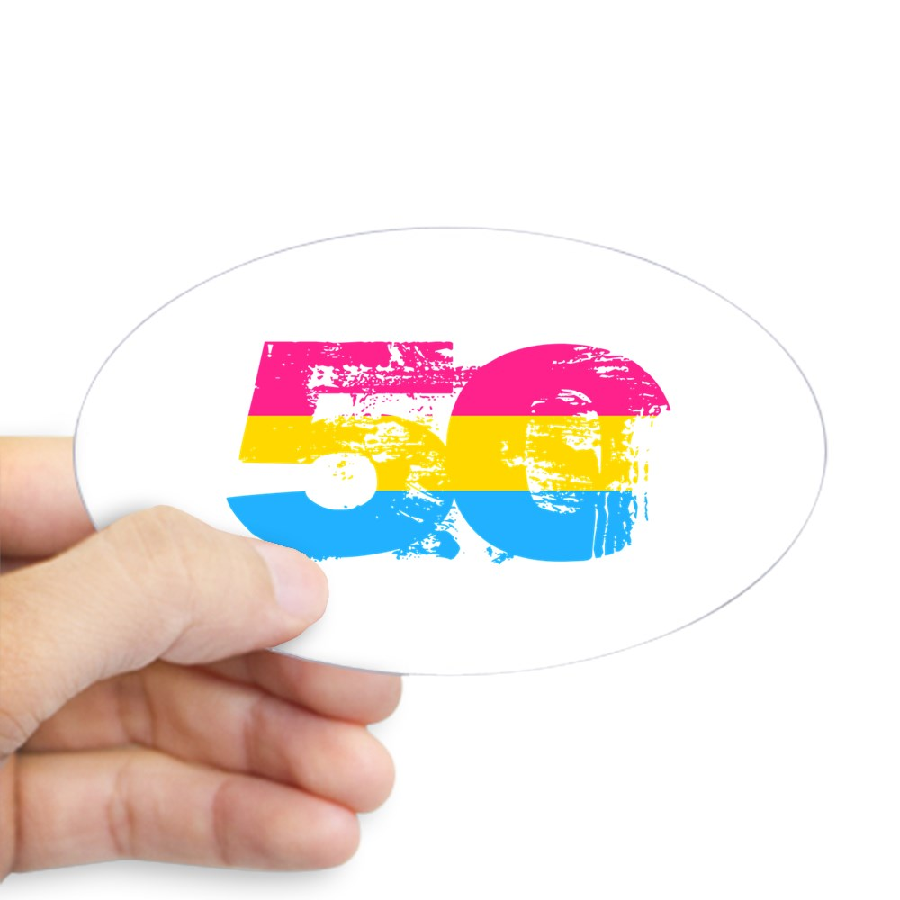 Pansexual Grunge 50 Pride Flag Oval Sticker
