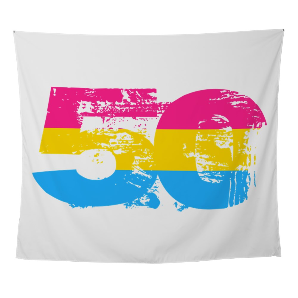 Pansexual Grunge 50 Pride Flag Wall Tapestry