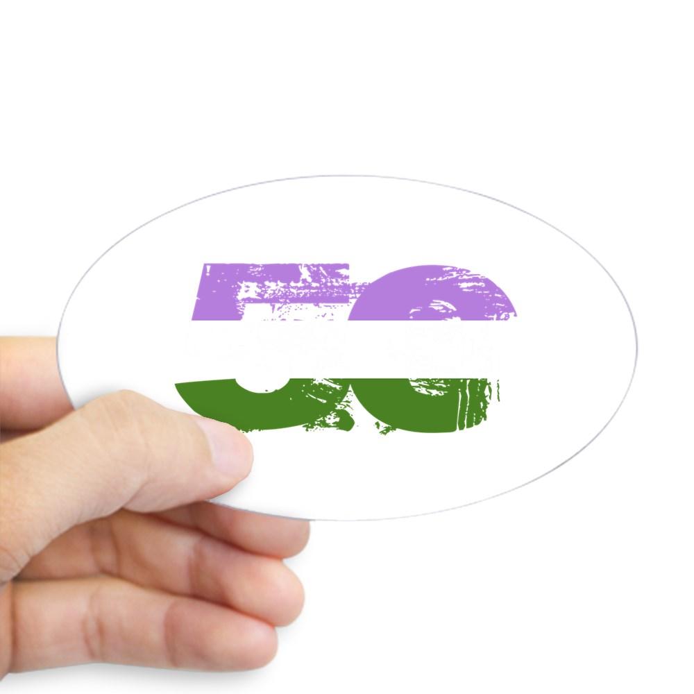 Genderqueer Grunge 50 Pride Flag Oval Sticker