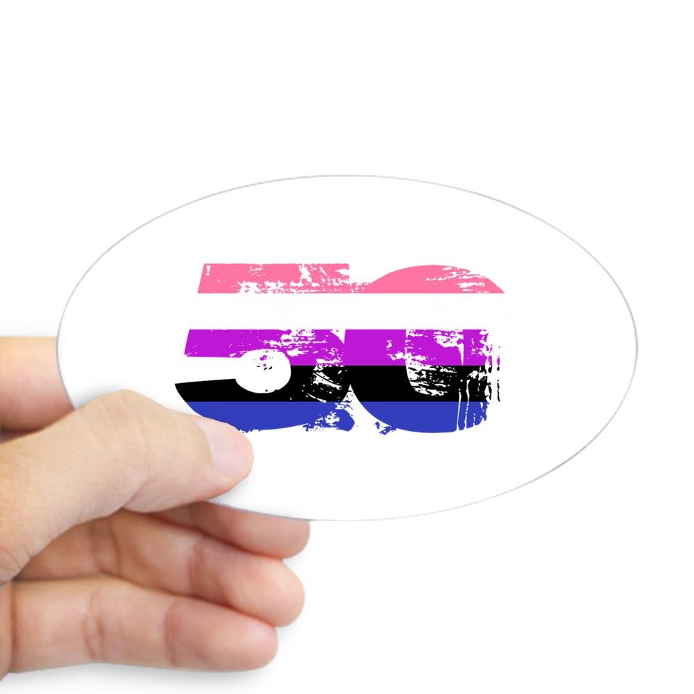 Genderfluid Grunge 50 Pride Flag Oval Sticker
