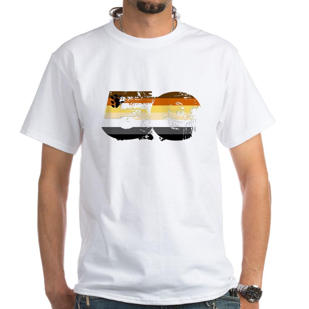 Gay Bear Grunge 50 Pride Flag White T-Shirt