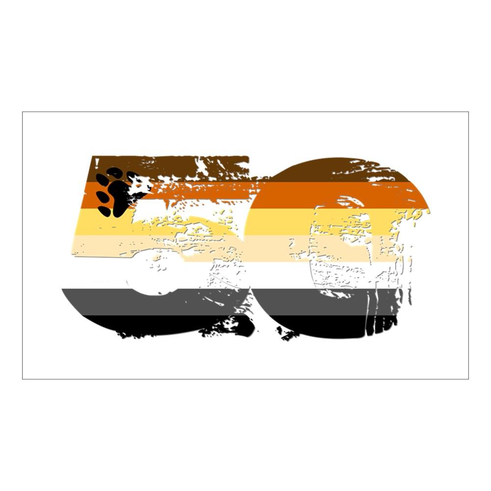 Gay Bear Grunge 50 Pride Flag Rectangle Sticker