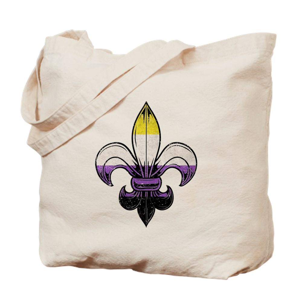 Nonbinary Pride Flag Fleur de Lis Tote Bag