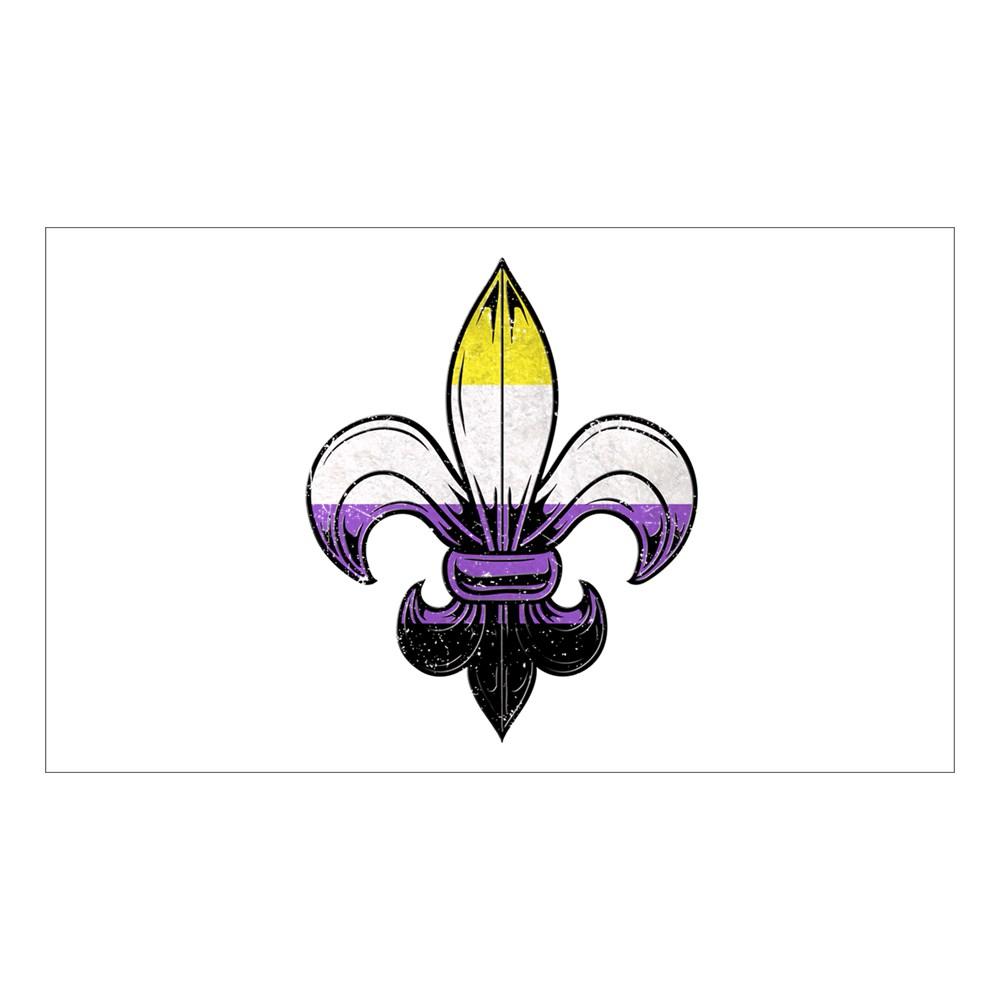 Nonbinary Pride Flag Fleur de Lis Rectangle Sticker