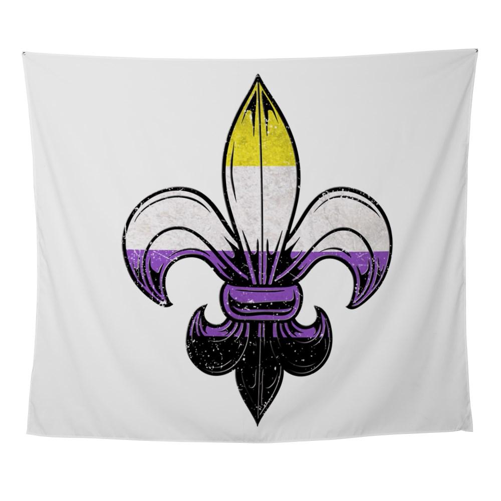 Nonbinary Pride Flag Fleur de Lis Wall Tapestry