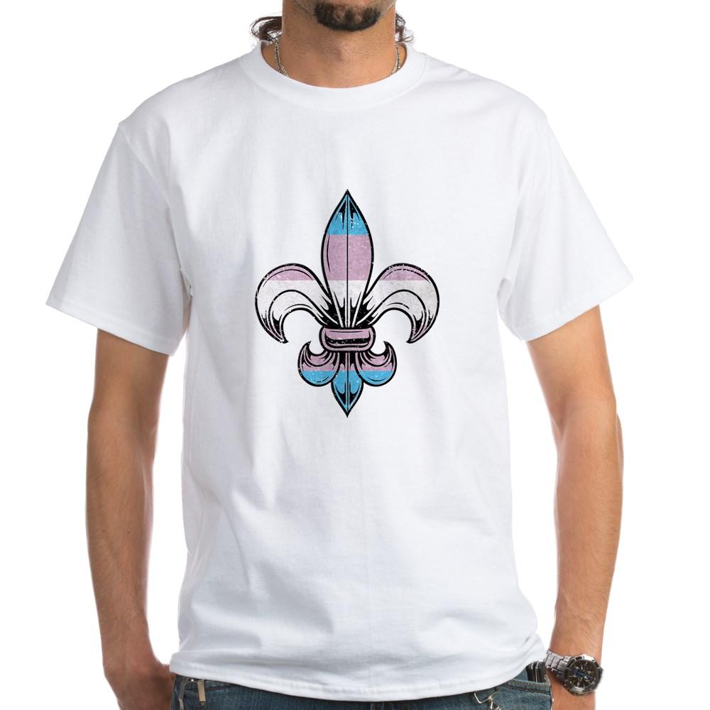 Transgender Pride Flag Fleur de Lis White T-Shirt