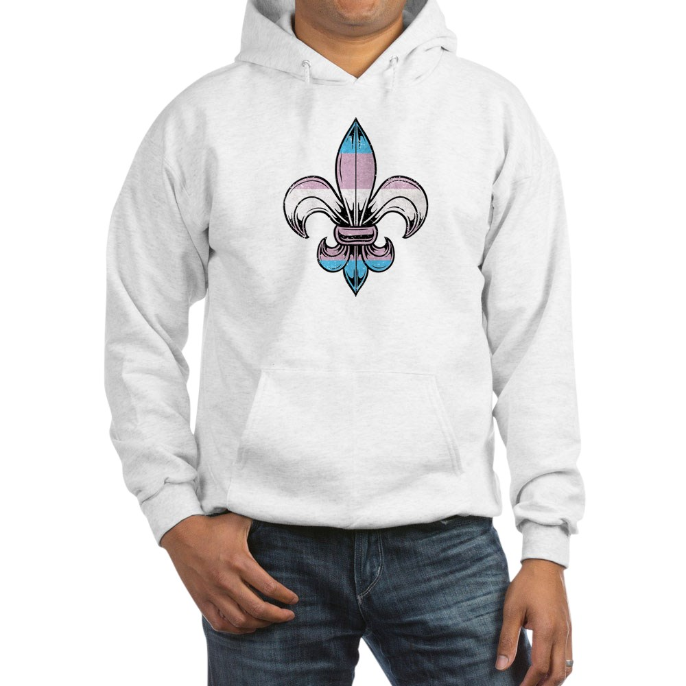 Transgender Pride Flag Fleur de Lis Hooded Sweatshirt
