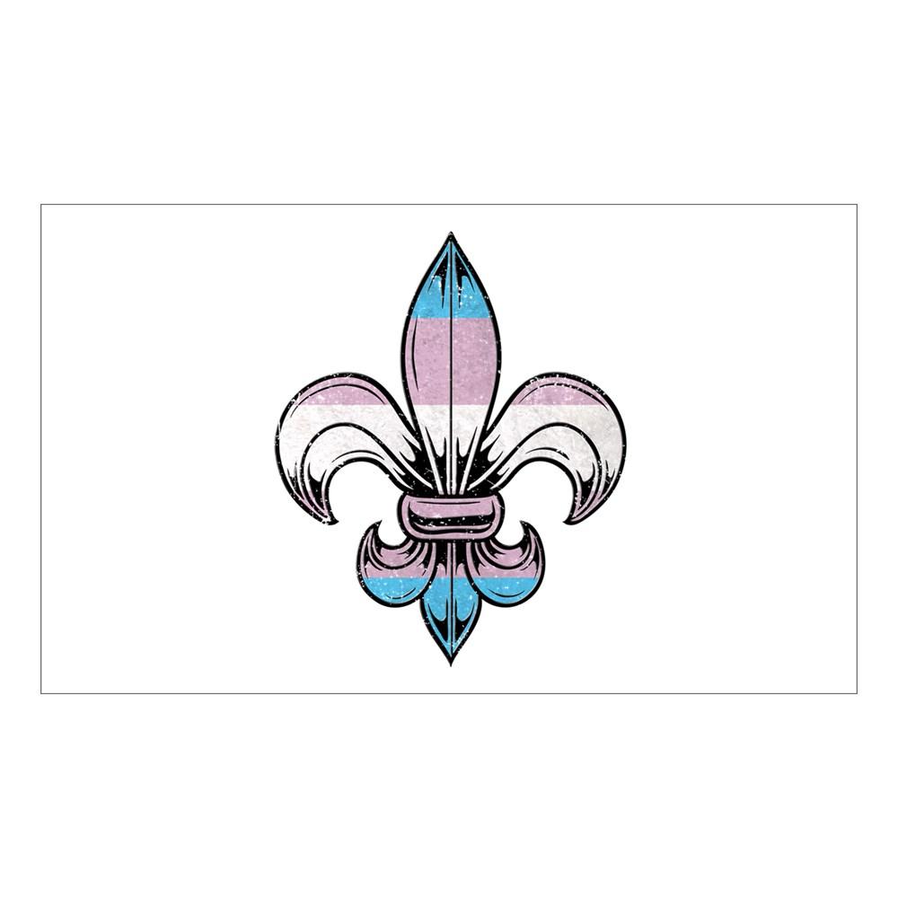 Transgender Pride Flag Fleur de Lis Rectangle Sticker
