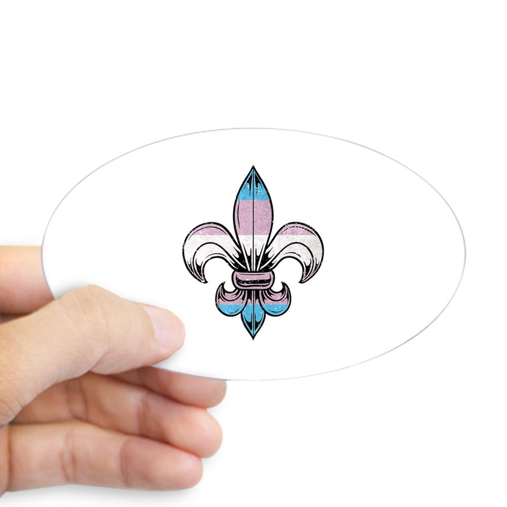 Transgender Pride Flag Fleur de Lis Oval Sticker