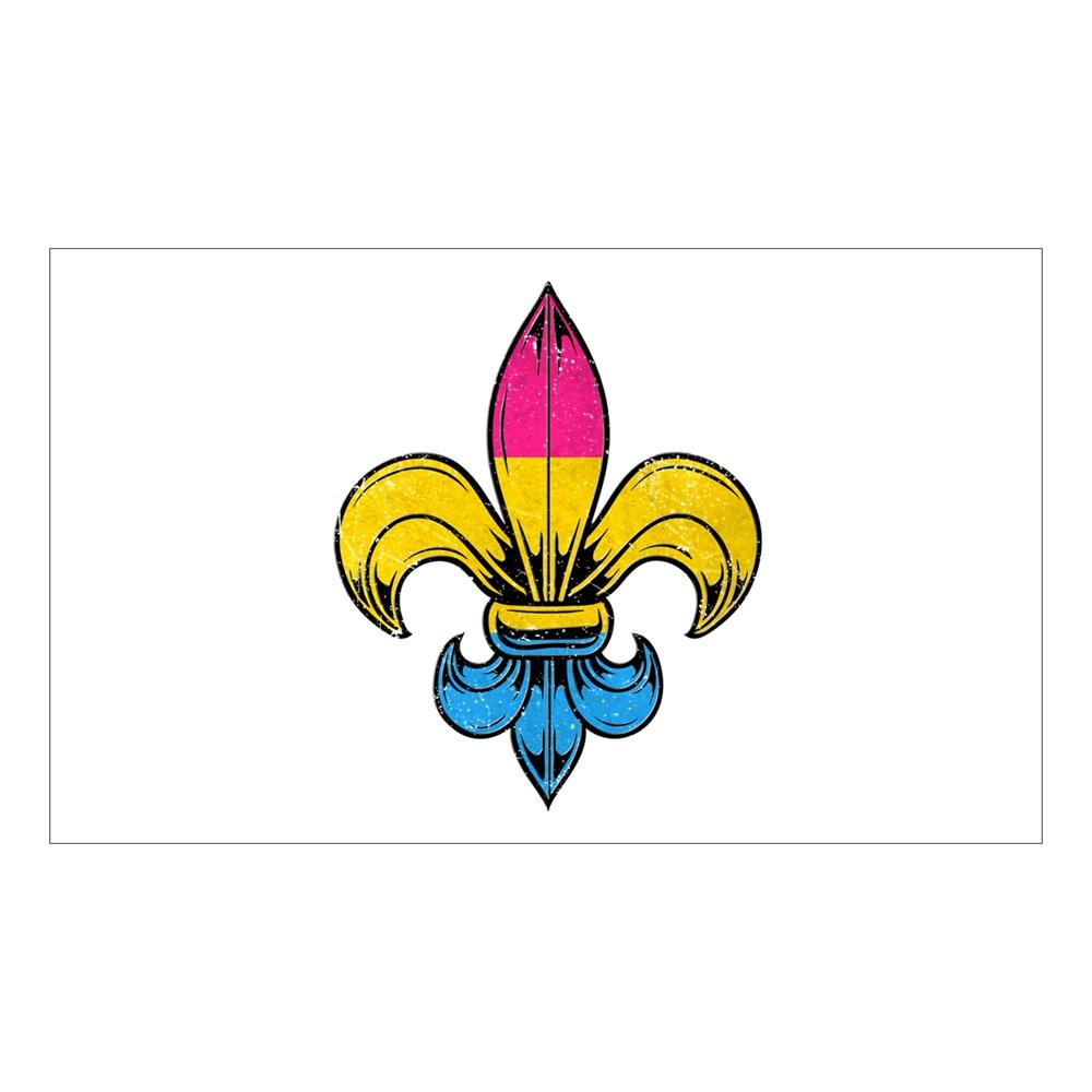 Pansexual Pride Flag Fleur de Lis Rectangle Sticker