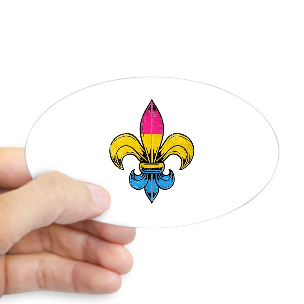 Pansexual Pride Flag Fleur de Lis Oval Sticker