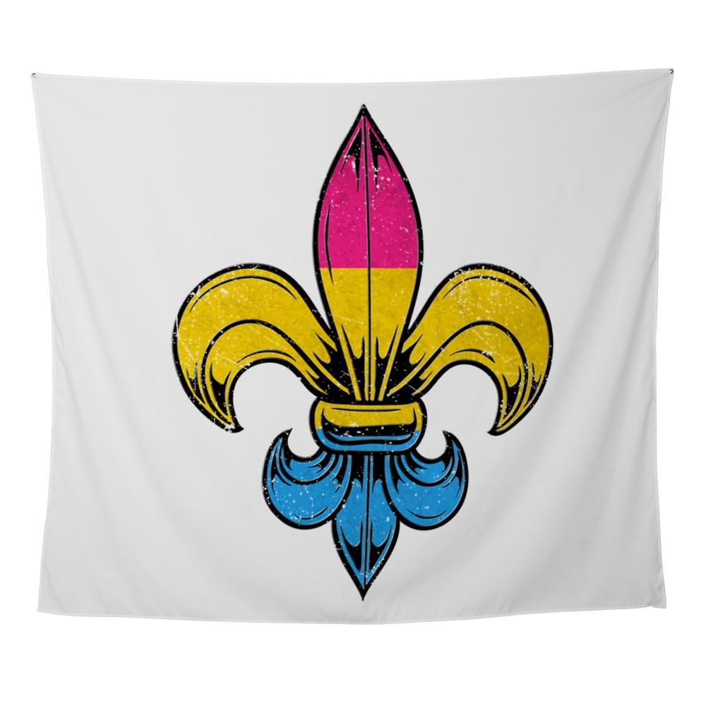 Pansexual Pride Flag Fleur de Lis Wall Tapestry