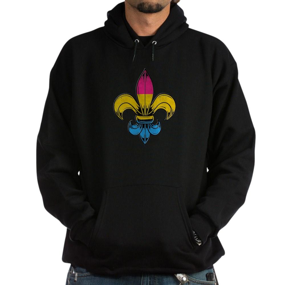 Pansexual Pride Flag Fleur de Lis Dark Hoodie