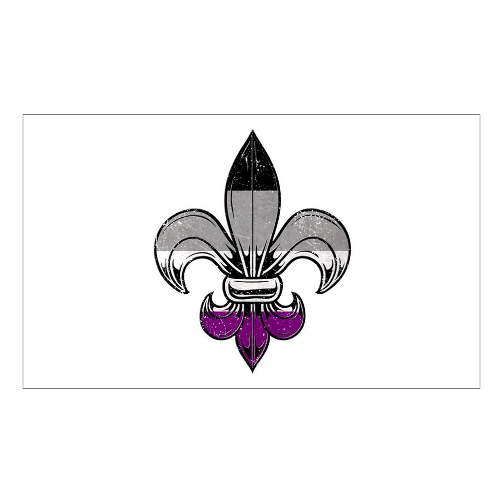Asexual Pride Flag Fleur de Lis Rectangle Sticker