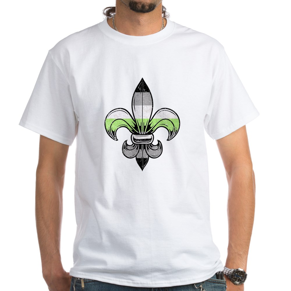 Agender Pride Flag Fleur de Lis White T-Shirt