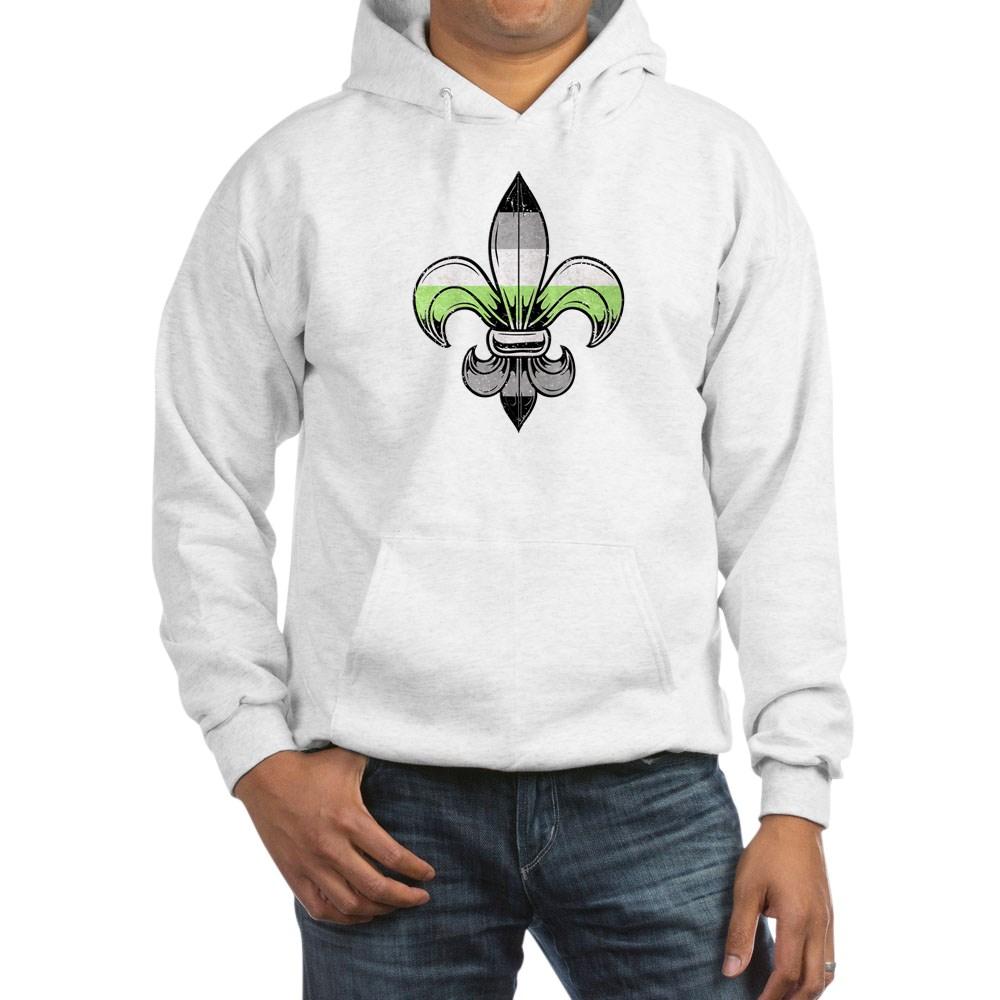 Agender Pride Flag Fleur de Lis Hooded Sweatshirt