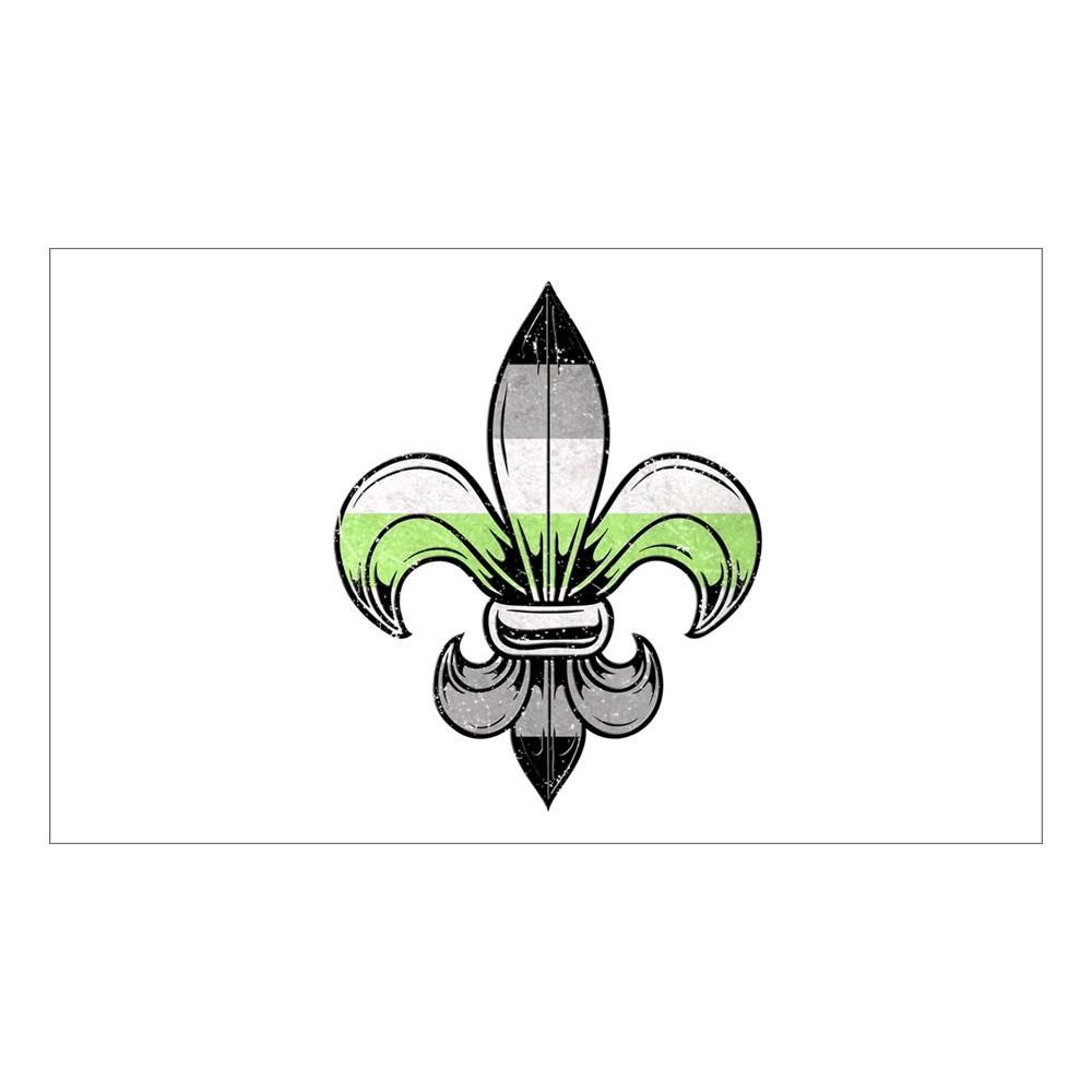 Agender Pride Flag Fleur de Lis Rectangle Sticker