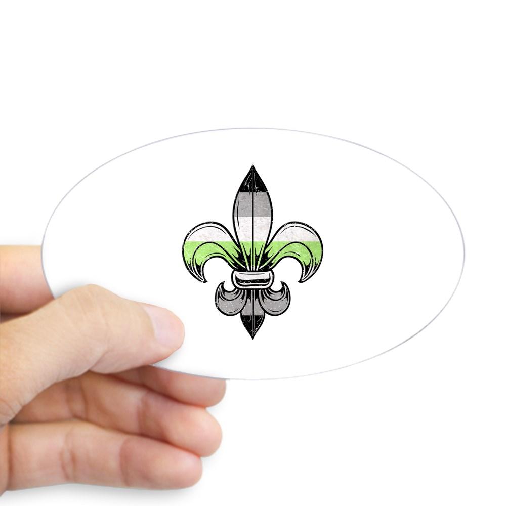 Agender Pride Flag Fleur de Lis Oval Sticker