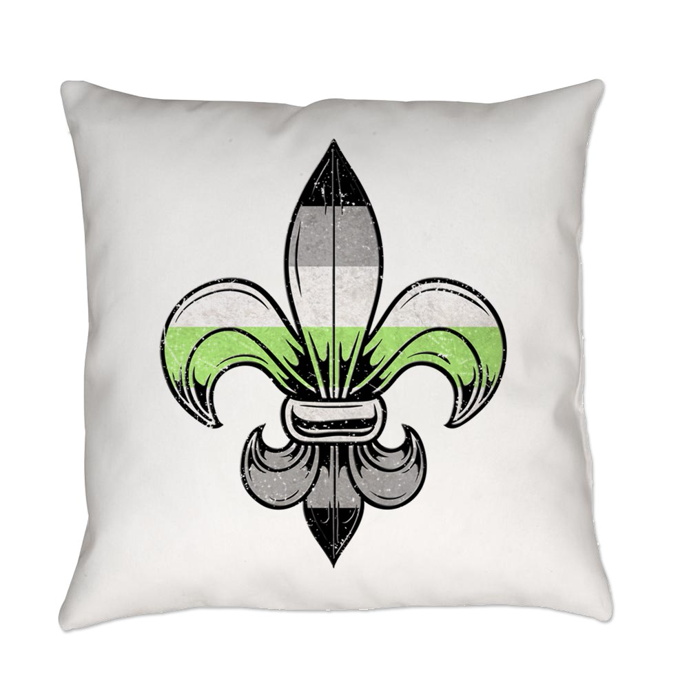 Agender Pride Flag Fleur de Lis Everyday Pillow