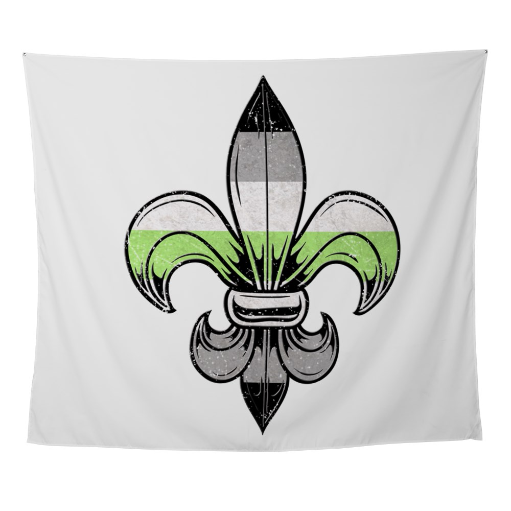 Agender Pride Flag Fleur de Lis Wall Tapestry