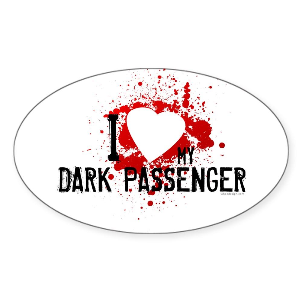 I Heart My Dark Passenger Oval Sticker