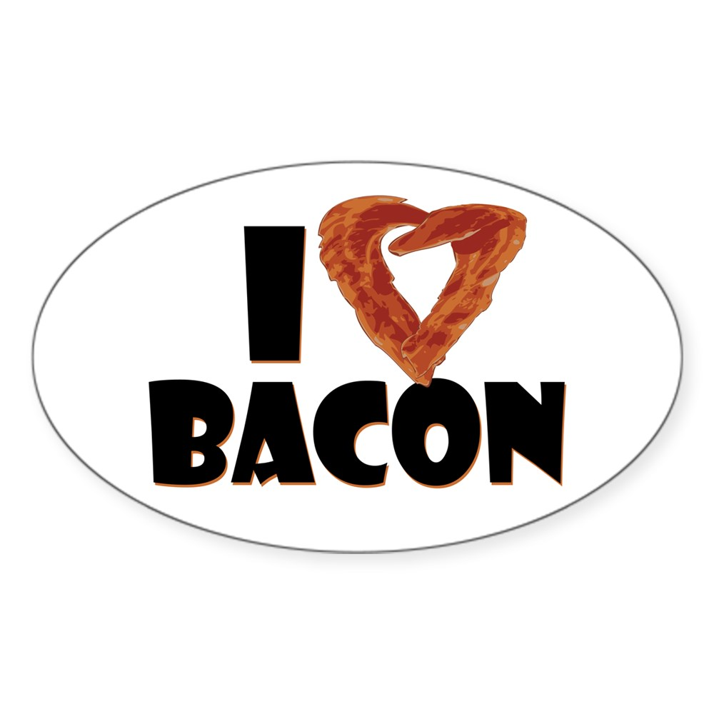I Heart Bacon Oval Sticker