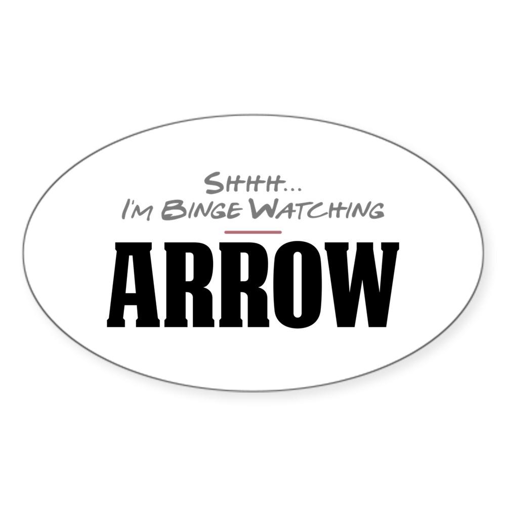 Shhh... I'm Binge Watching Arrow Oval Sticker