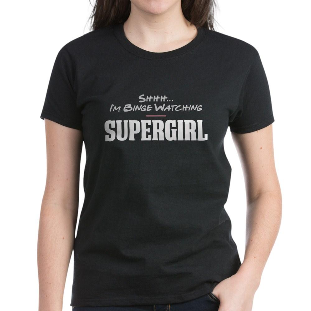 Shhh... I'm Binge Watching Supergirl Women's Dark T-Shirt