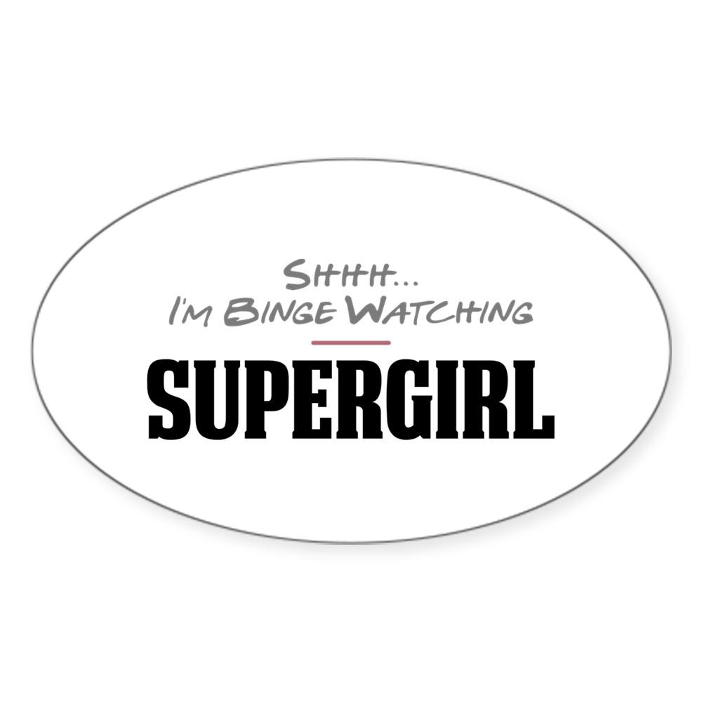 Shhh... I'm Binge Watching Supergirl Oval Sticker