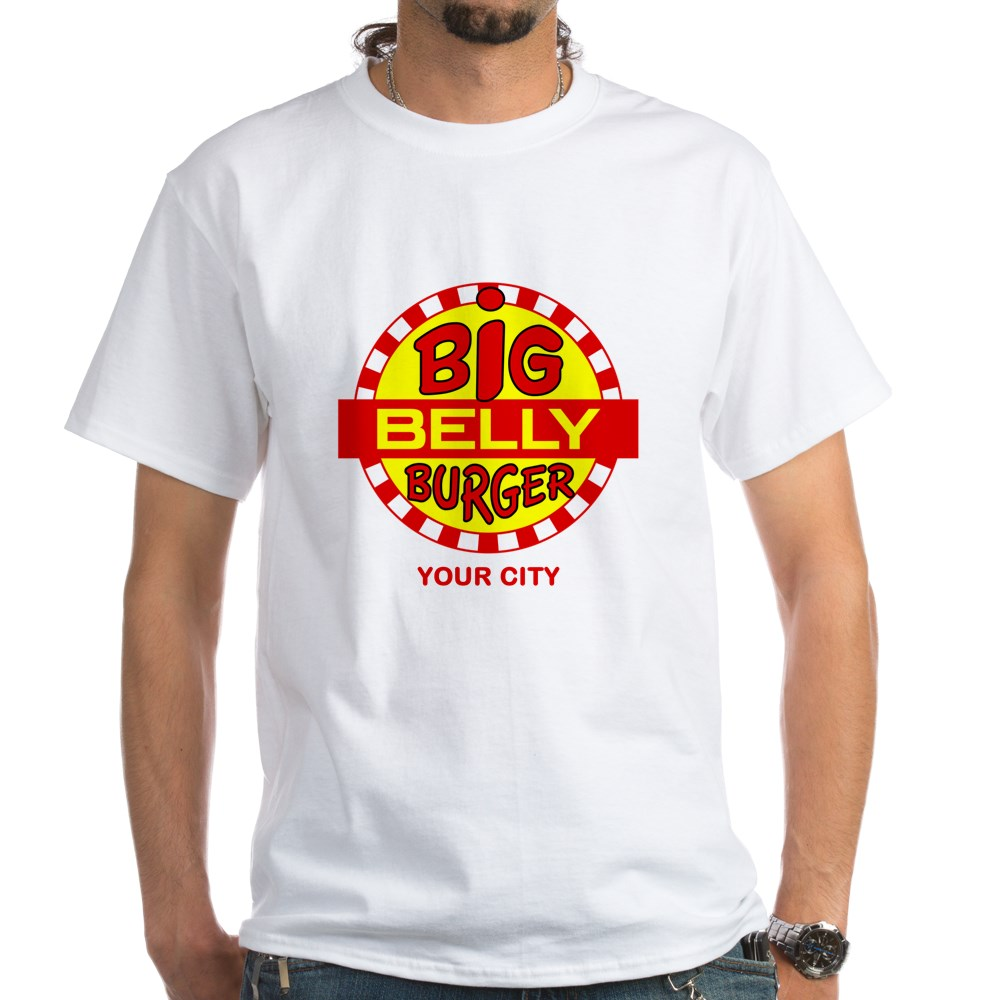 Personalized Big Belly Burger Logo White T-Shirt