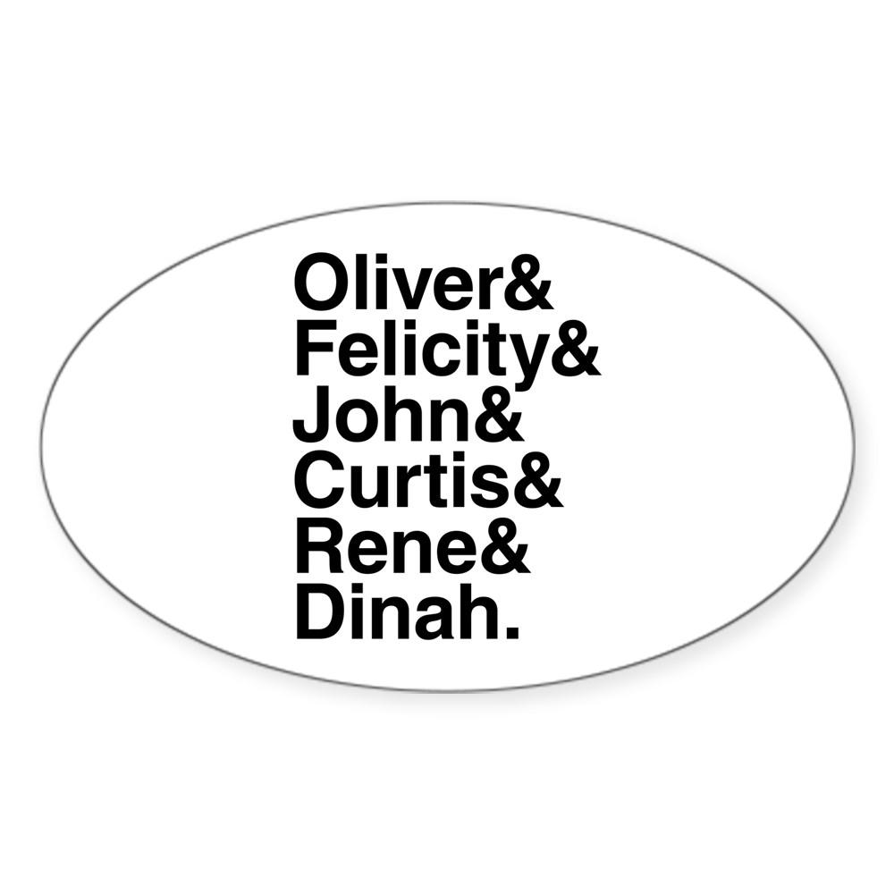 Team Arrow name List Oval Sticker