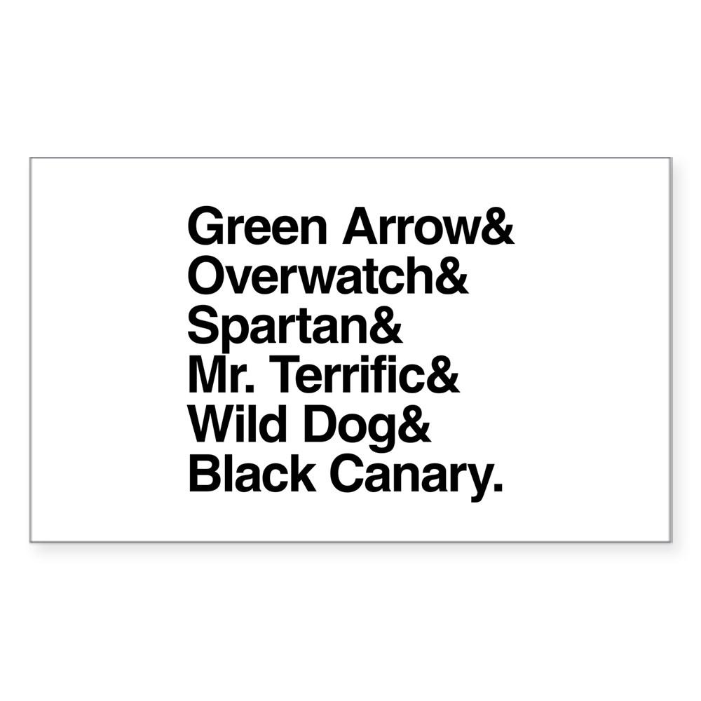 Team Arrow Codenames List Rectangle Sticker