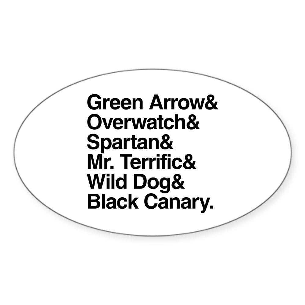 Team Arrow Codenames List Oval Sticker