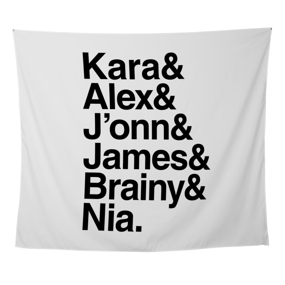 Team Supergirl Name List Wall Tapestry