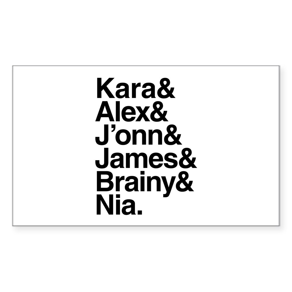 Team Supergirl Name List Rectangle Sticker
