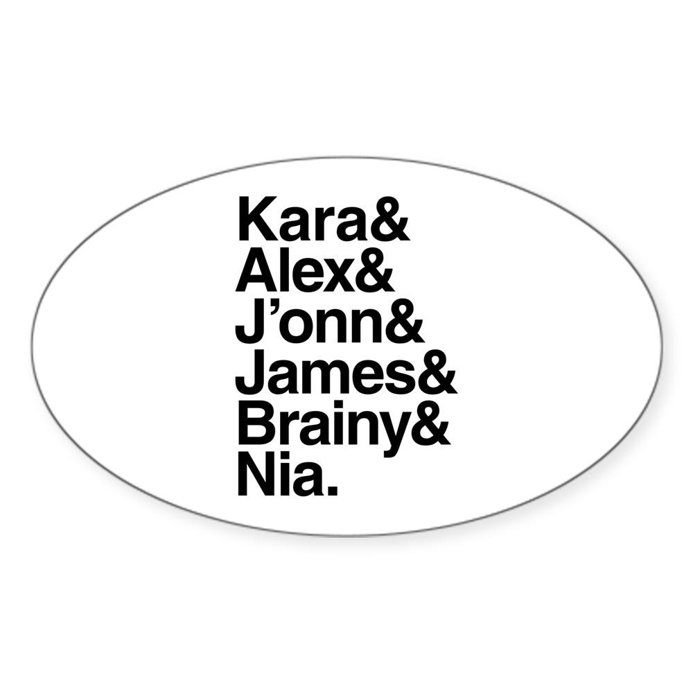 Team Supergirl Name List Oval Sticker