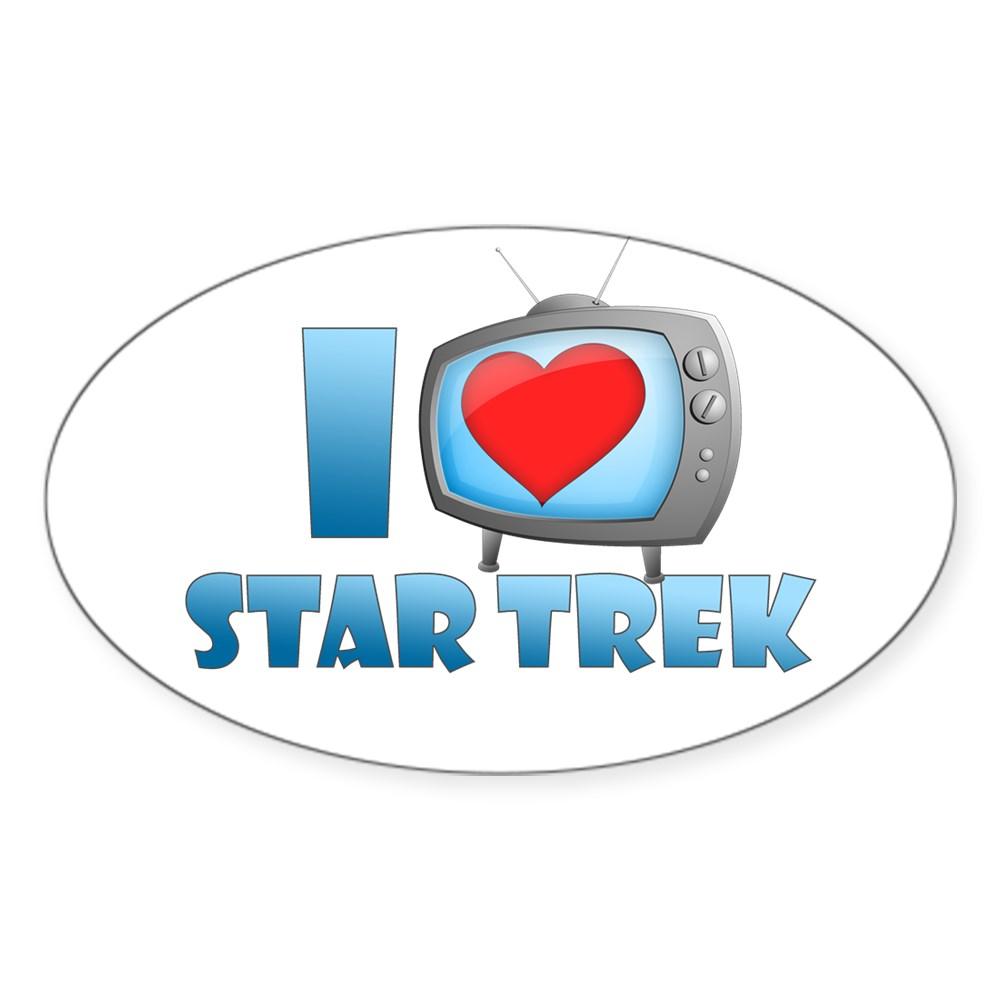 I Heart Star Trek Oval Sticker