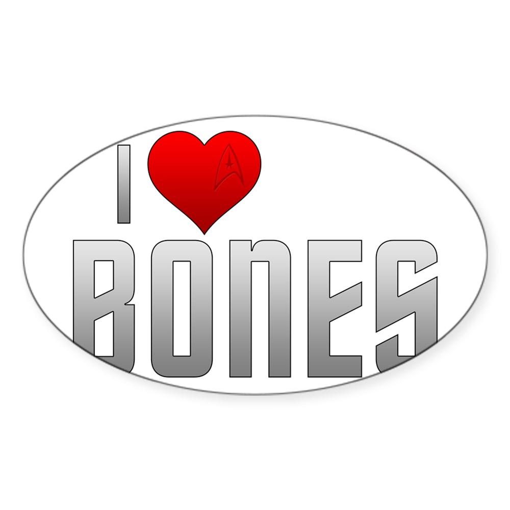I Heart Bones Oval Sticker