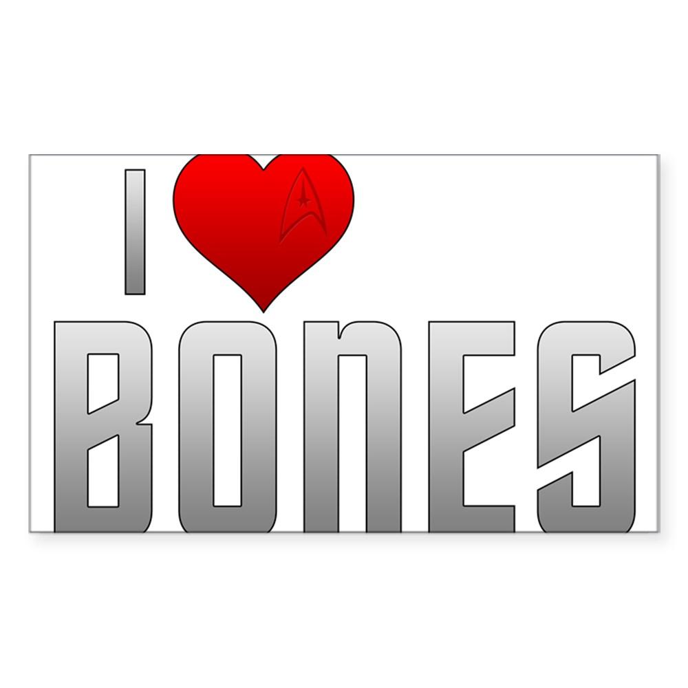 I Heart Bones Rectangle Sticker