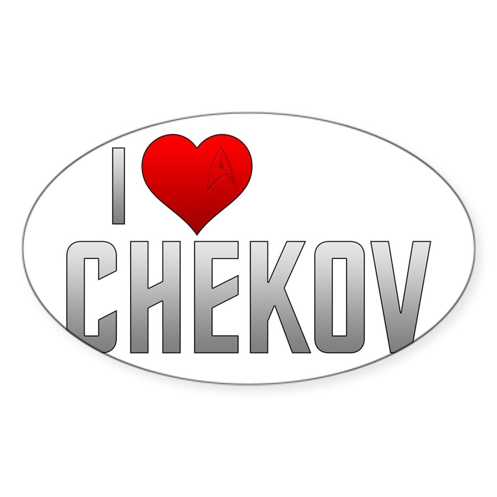 I Heart Chekov Oval Sticker