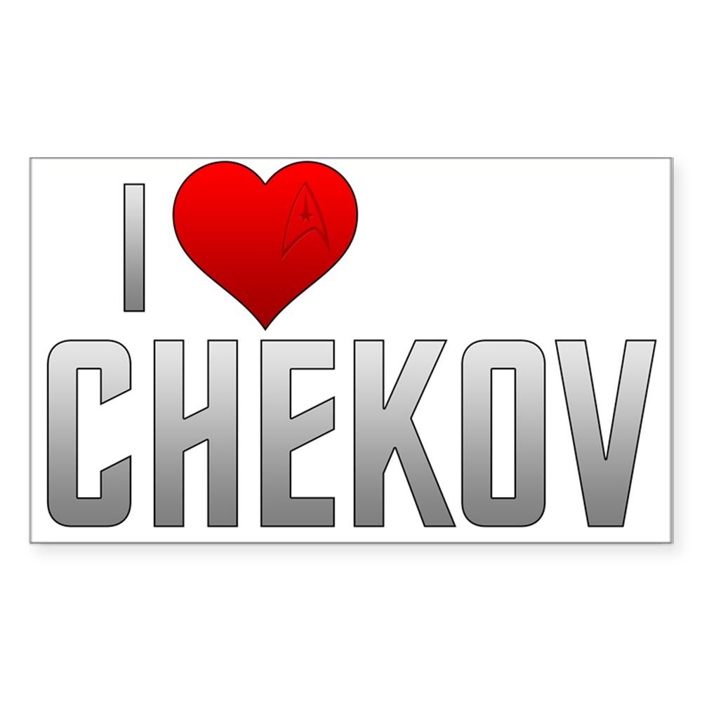 I Heart Chekov Rectangle Sticker