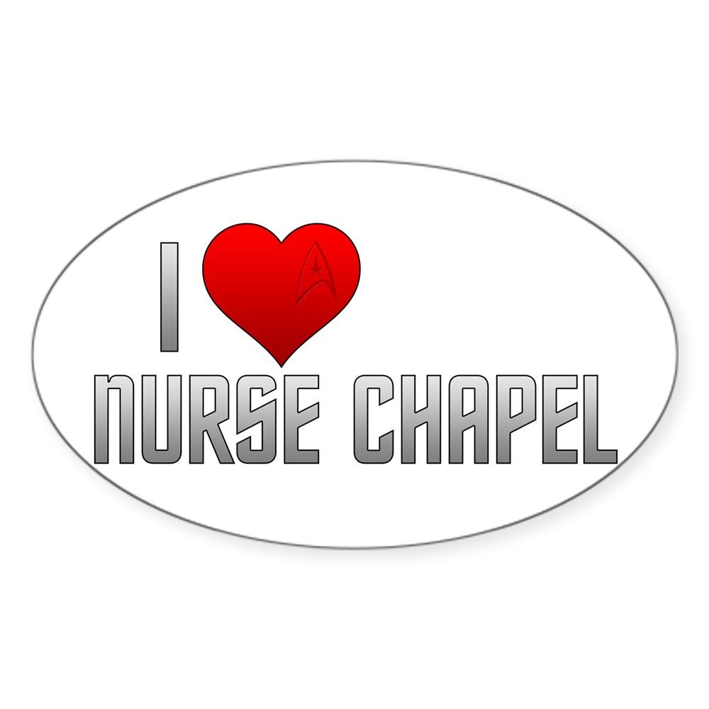 I Heart Nurse Chapel Oval Sticker
