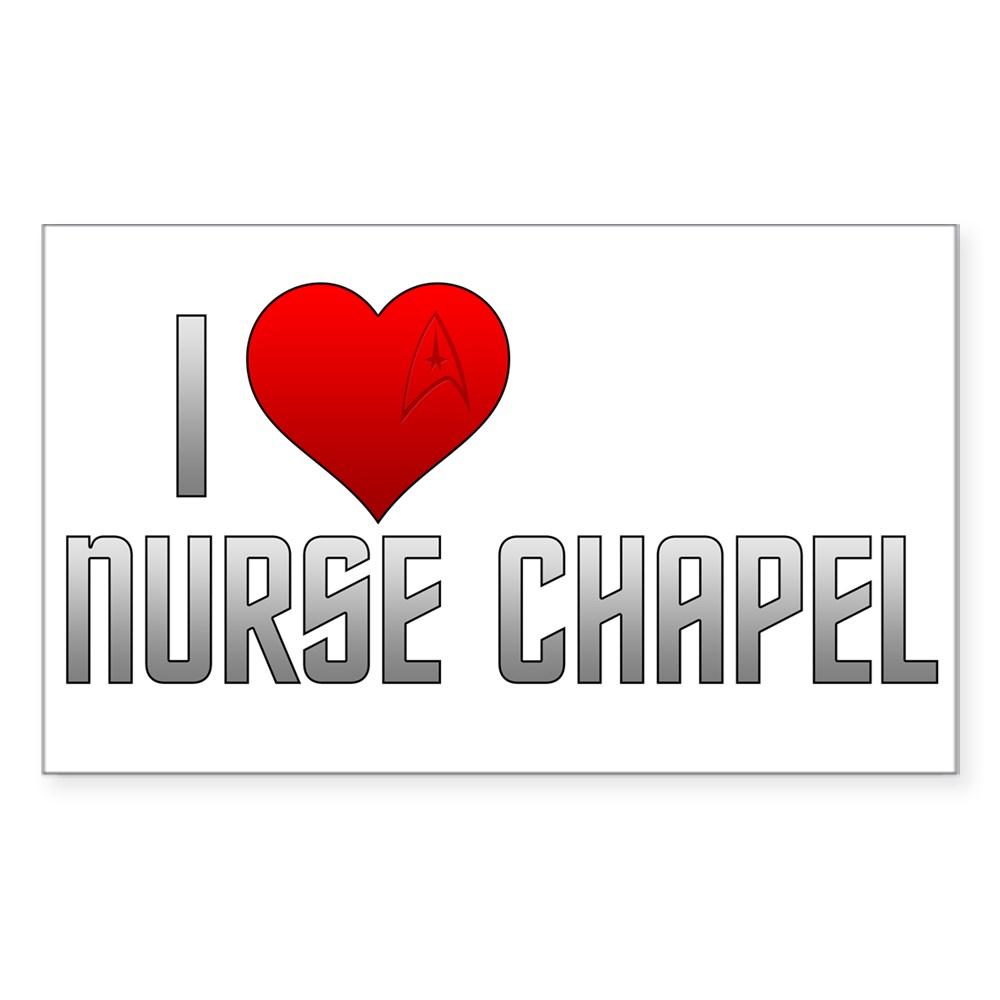 I Heart Nurse Chapel Rectangle Sticker