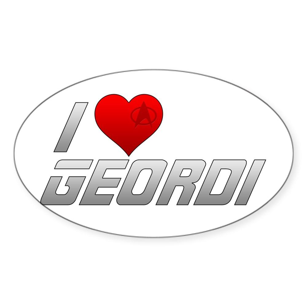 I Heart Geordi Oval Sticker