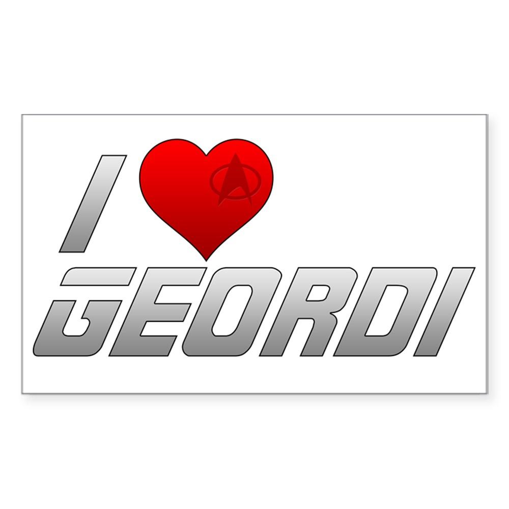 I Heart Geordi Rectangle Sticker