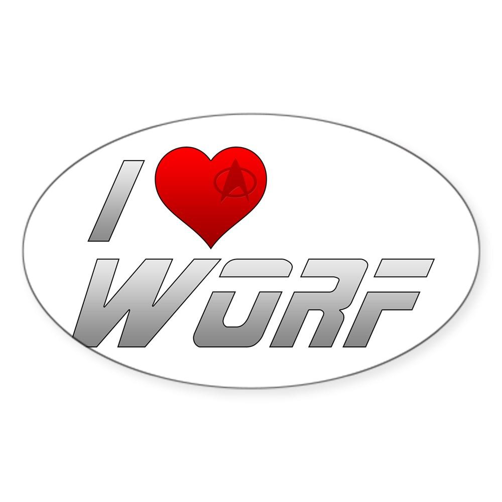 I Heart Worf Oval Sticker