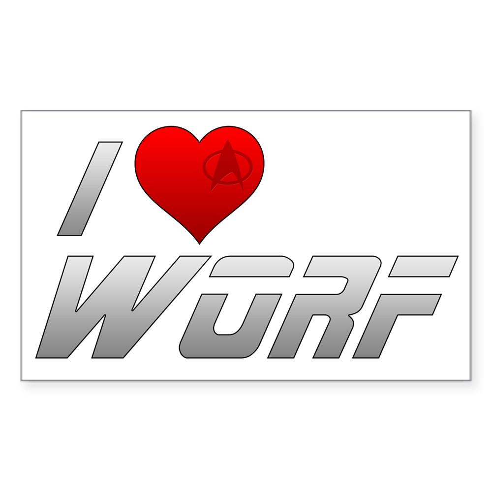 I Heart Worf Rectangle Sticker