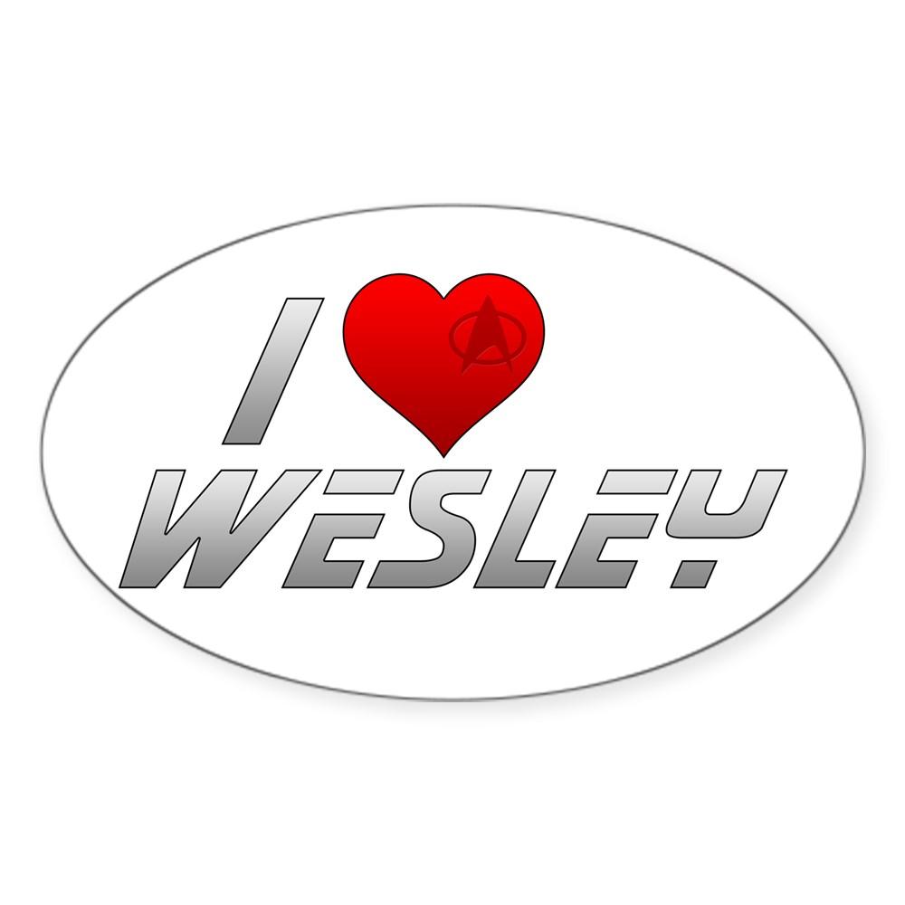 I Heart Wesley Oval Sticker