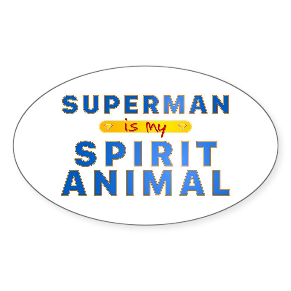 Superman is my Spirit Animal Oval Sticker